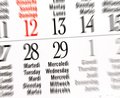 Calendar of leap year february details Royalty Free Stock Photos