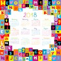 2018 Calendar with letters for schools Royalty Free Stock Photo