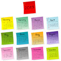 2017 calendar made of colored sheets of paper Royalty Free Stock Photo