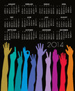Calendar with many hands monthly colorful and forearms on a black background Royalty Free Stock Photography