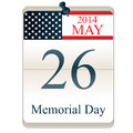 Calendar for memorial day vector of with american flag Royalty Free Stock Photo