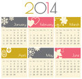 Calendar minimalist design for a january to june Stock Image
