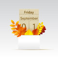 Calendar mock up with autumn leaves
