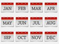 Calendar month set  icon on grey color Royalty Free Stock Photo