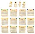 Calendar na nota 2012 do jogo Imagem de Stock Royalty Free
