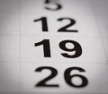 Calendar nineteen number Royalty Free Stock Photo