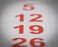 Calendar nineteen number Royalty Free Stock Photo