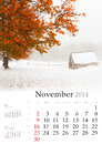 2014 Calendar. November.