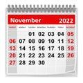 Calendar - November 2022