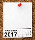 Calendar November 2017. 3d Rendering