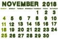 Calendar for November 2018 on white background