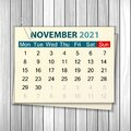 Calendar November 2021 On Wood