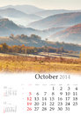 2014  Calendar. October. Royalty Free Stock Photo