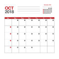 Calendar for October 2018 Royalty Free Stock Photo