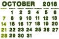Calendar for October 2018 on white background,3d rendering green