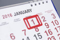 Calendar page with marked date of 1st of January 2016 Royalty Free Stock Photo