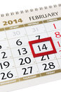 Calendar page with red frame on february closeup Stock Photo