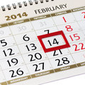 Calendar page with red frame on february closeup Royalty Free Stock Photos