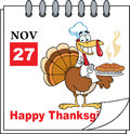 Calendar Page Turkey Chef Royalty Free Stock Photo
