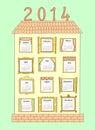 Calendar pelo ano uma casa pintada com windows Imagens de Stock Royalty Free