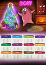 Calendar with pig Chenese New Year 2019