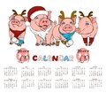 Calendar with pigs in Christmas costumes