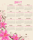 Calendar with pink lily Royalty Free Stock Photo