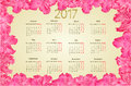 Calendar 2017 with pink rhododendron flowers vintage vector Royalty Free Stock Photo