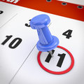 Calendar and pushpin blue mark on the at Royalty Free Stock Image