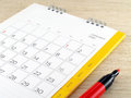 Calendar with red marker pen Royalty Free Stock Photo