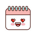 Calendar reminder kawaii style isolated icon