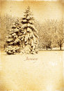 Calendar retro. January. Vintage winter landscape. Royalty Free Stock Photo