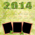 Calendar with a retro photo frames on textured background vintage Royalty Free Stock Photography