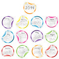 Calendar with round glossy stickers over white Stock Images