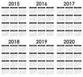 2015 - 2020 Calendar