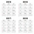 Calendar 2015 2016 2017 2018 Royalty Free Stock Photo