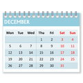 Calendar sheet for december month in white background week starts from monday Royalty Free Stock Photo