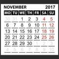 Calendar sheet November 2017