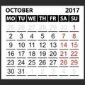 Calendar sheet October 2017