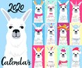 Calendar for 2020 from Sunday to Saturday. Cute llama in different costumes. Superhero, sailor in a vest, unicorn, Santa Claus.