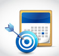 Calendar and target dart illustration design over a white background Stock Photo