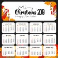 2019 Calendar template. Christmas and Happy new Year Background