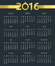 2016 calendar template with hanging bell on dark blue background. Week starts with Sunday Royalty Free Stock Photo
