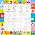 Calendar with toys for kids and dolls Stock Photos