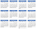 Calendar in us style start on sunday each month with individual table Stock Images