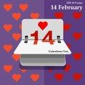 Calendar for valentines day, alendar Date, February 14, calendar on flat design