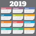 2019 calendar. Vector calender design template Royalty Free Stock Photo