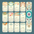 Calendar 2016 vector design. Week starts Sunday.