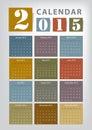 Calendar vector earthtone design Stock Photos