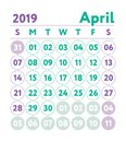 Calendar 2019. Vector English calender. April month. Week starts
